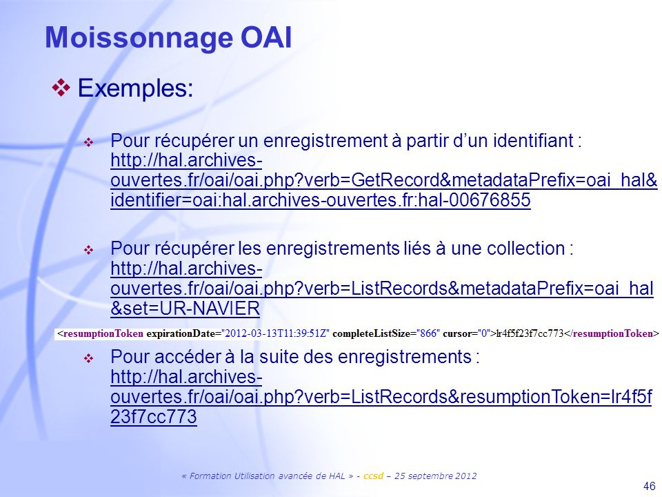 Moissonnage OAI Exemples: