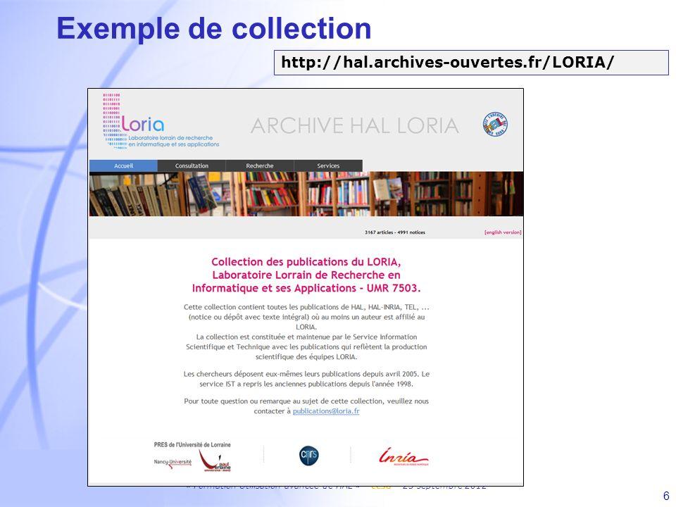 Exemple de collection http://hal.archives-ouvertes.fr/LORIA/ 6