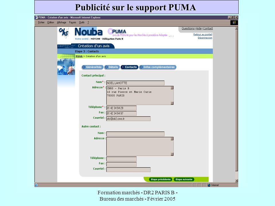Publicité sur le support PUMA