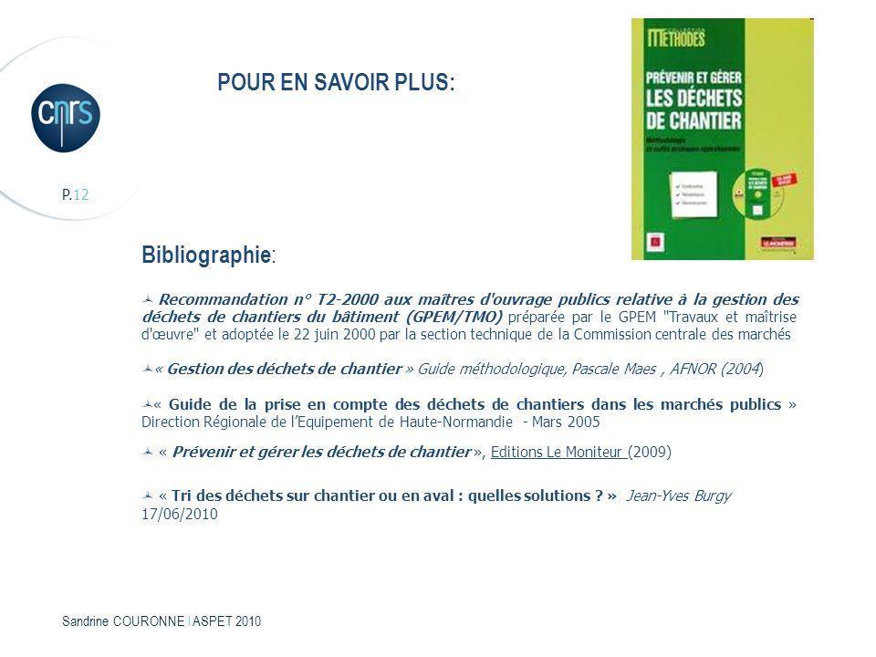 POUR EN SAVOIR PLUS: Bibliographie: P.12