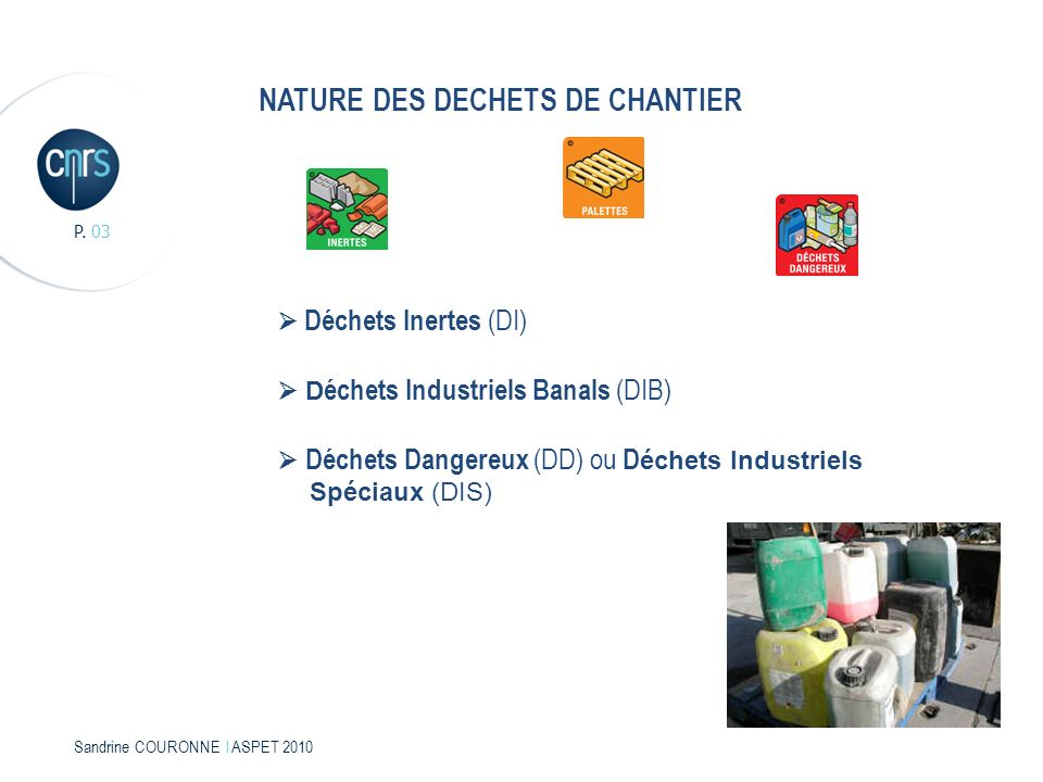 NATURE DES DECHETS DE CHANTIER