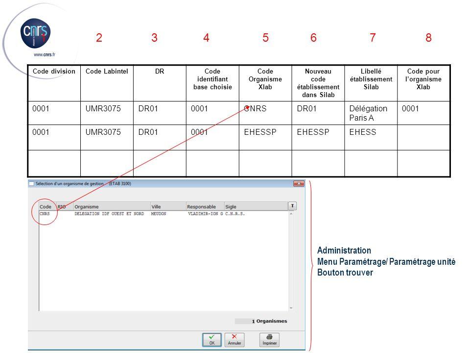 1 2 3 4 5 6 7 8 Administration Menu Paramétrage/ Paramétrage unité