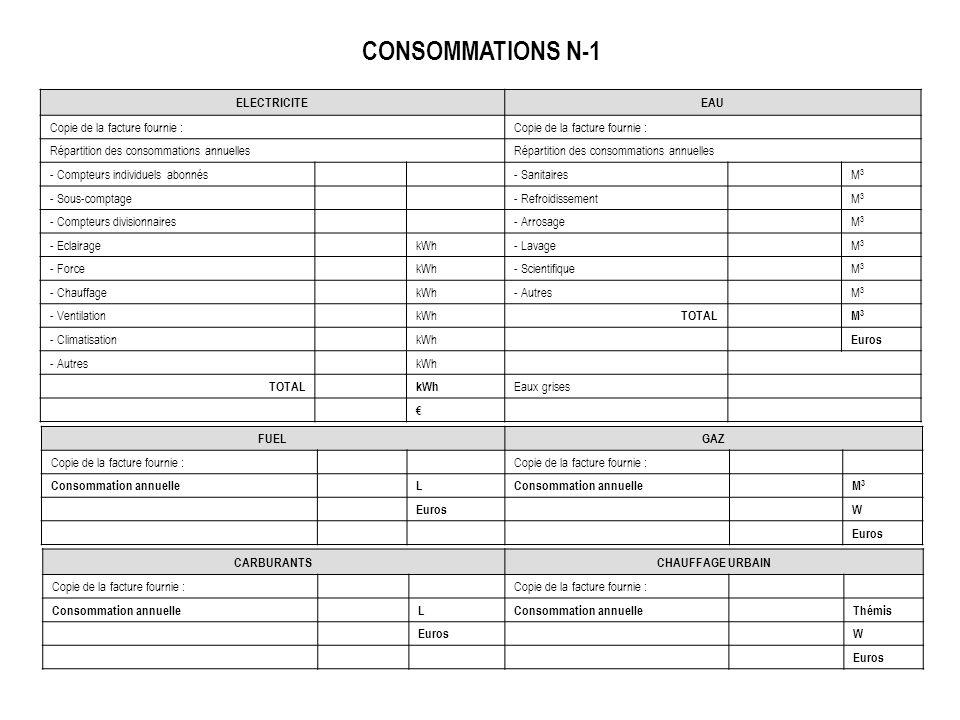 CONSOMMATIONS N-1 ELECTRICITE EAU Copie de la facture fournie :