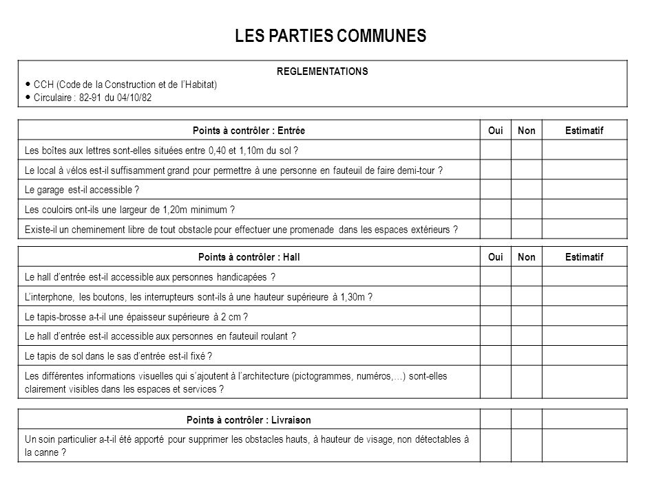 LES PARTIES COMMUNES REGLEMENTATIONS
