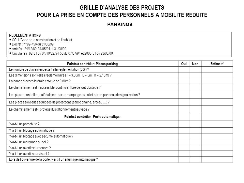 GRILLE D'ANALYSE DES PROJETS POUR LA PRISE EN COMPTE DES PERSONNELS A MOBILITE REDUITE
