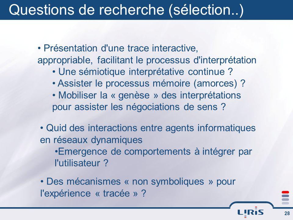 Questions de recherche (sélection..)