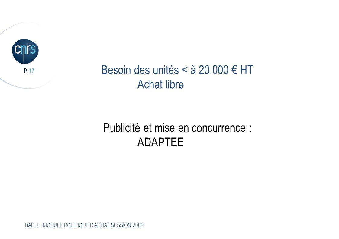 Besoin des unités < à 20. 000 € HT Achat libre