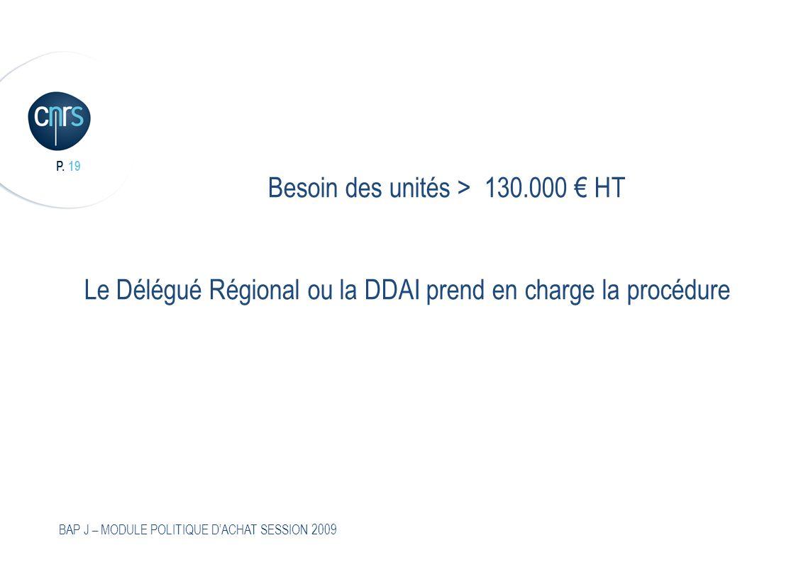 Besoin des unités > 130.000 € HT Le Délégué Régional ou la DDAI prend en charge la procédure