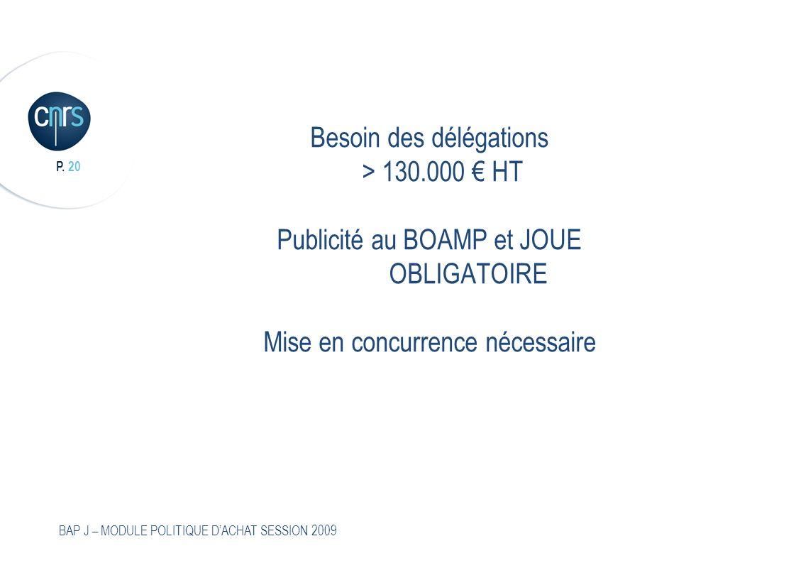 Besoin des délégations. > 130. 000 € HT. Publicité au BOAMP et JOUE