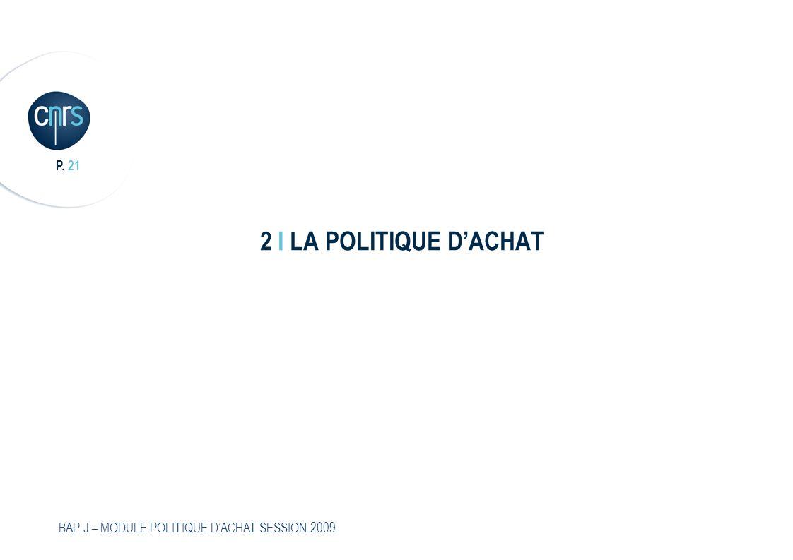 2 I LA POLITIQUE D'ACHAT