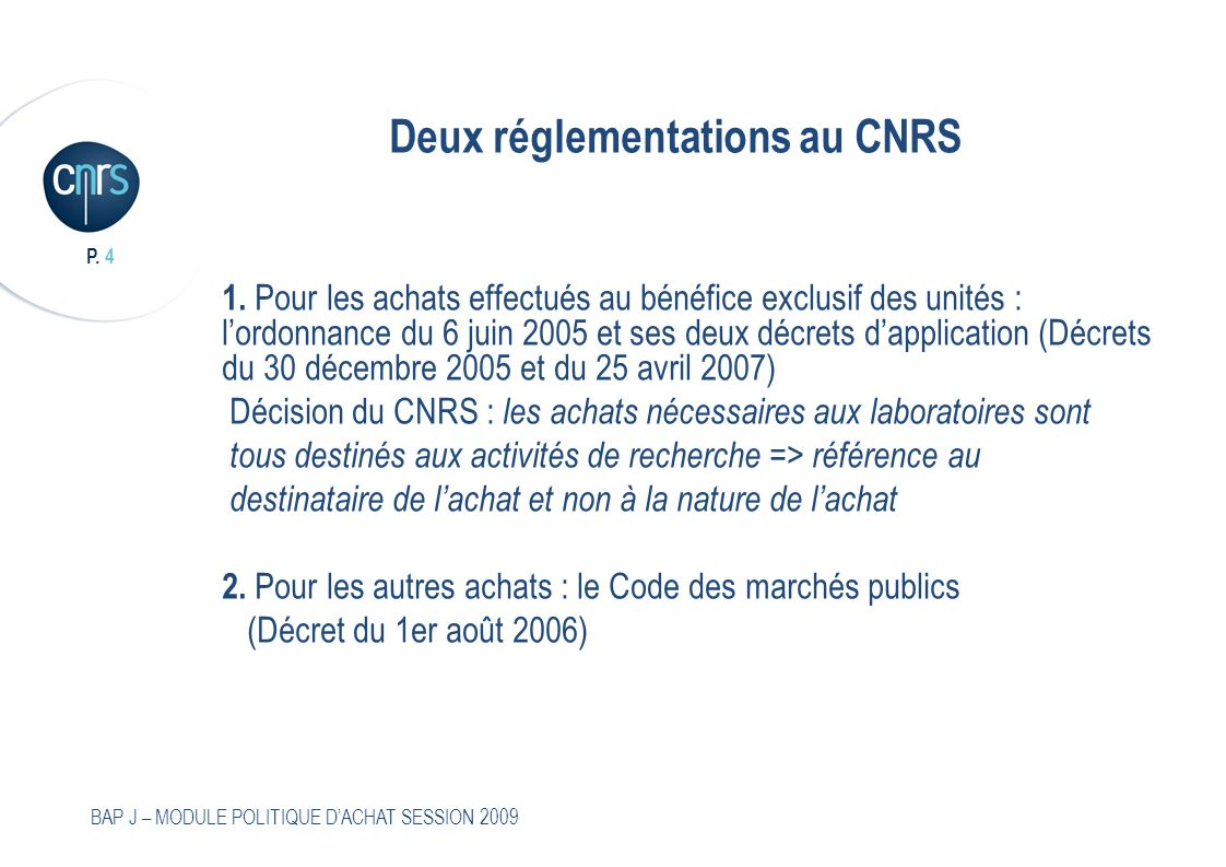 Deux réglementations au CNRS