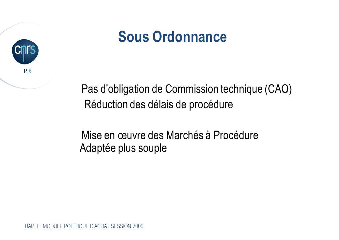 Sous Ordonnance Pas d'obligation de Commission technique (CAO)