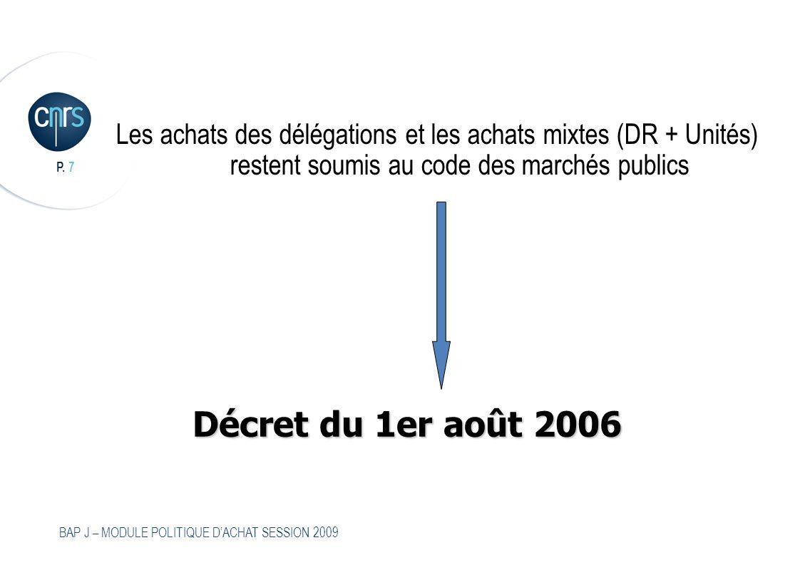 Les achats des délégations et les achats mixtes (DR + Unités) restent soumis au code des marchés publics