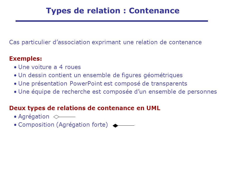 Types de relation : Contenance