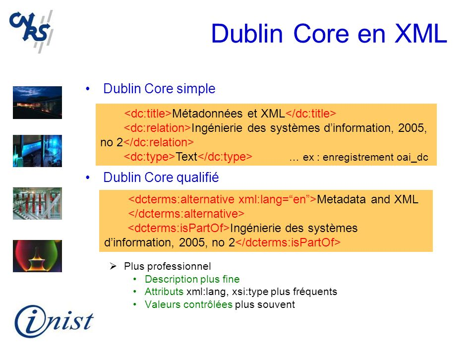 Dublin Core en XML Dublin Core simple Dublin Core qualifié