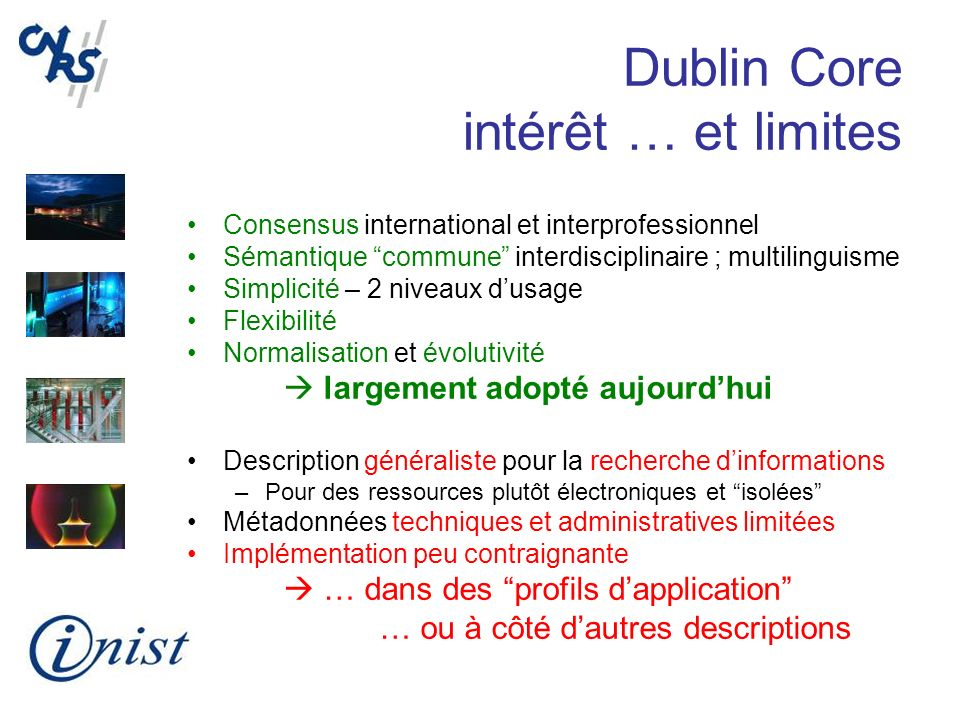 Dublin Core intérêt … et limites