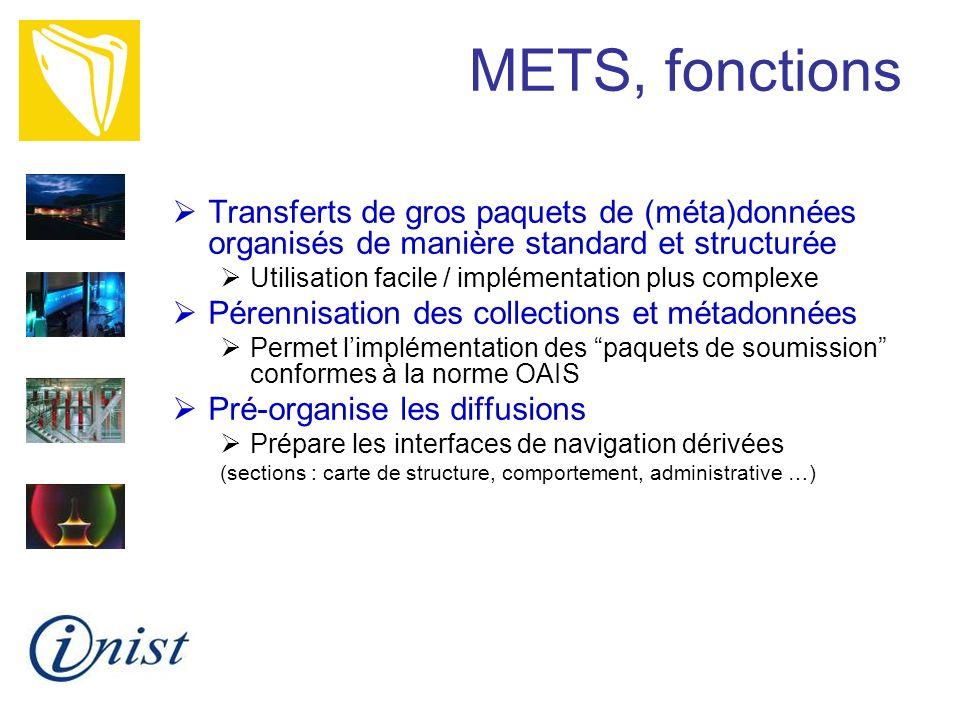 METS, fonctions Transferts de gros paquets de (méta)données organisés de manière standard et structurée.