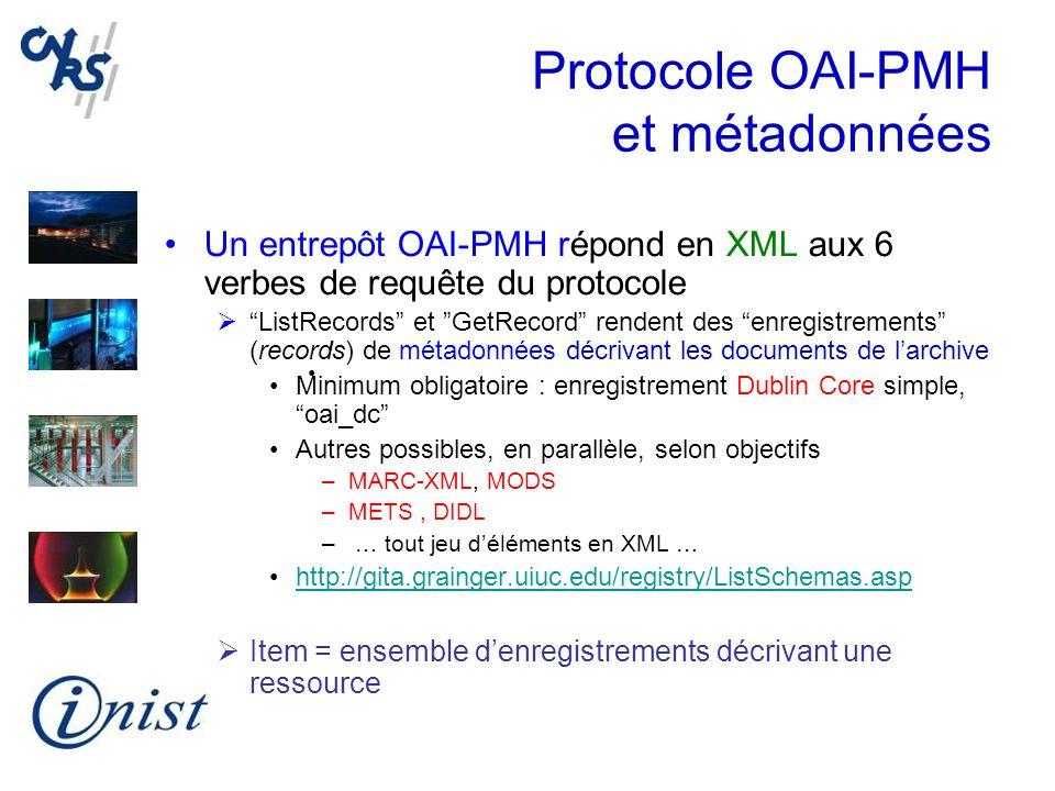 Protocole OAI-PMH et métadonnées