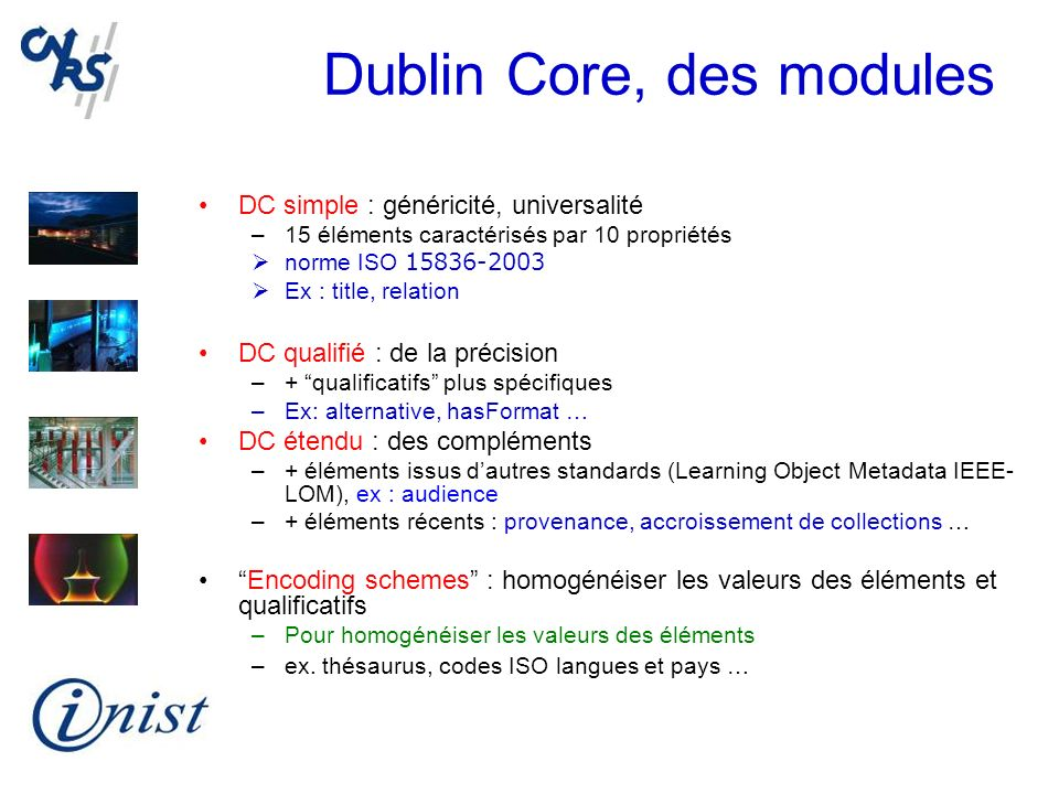 Dublin Core, des modules