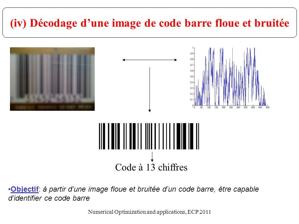 (iv) Décodage d'une image de code barre floue et bruitée