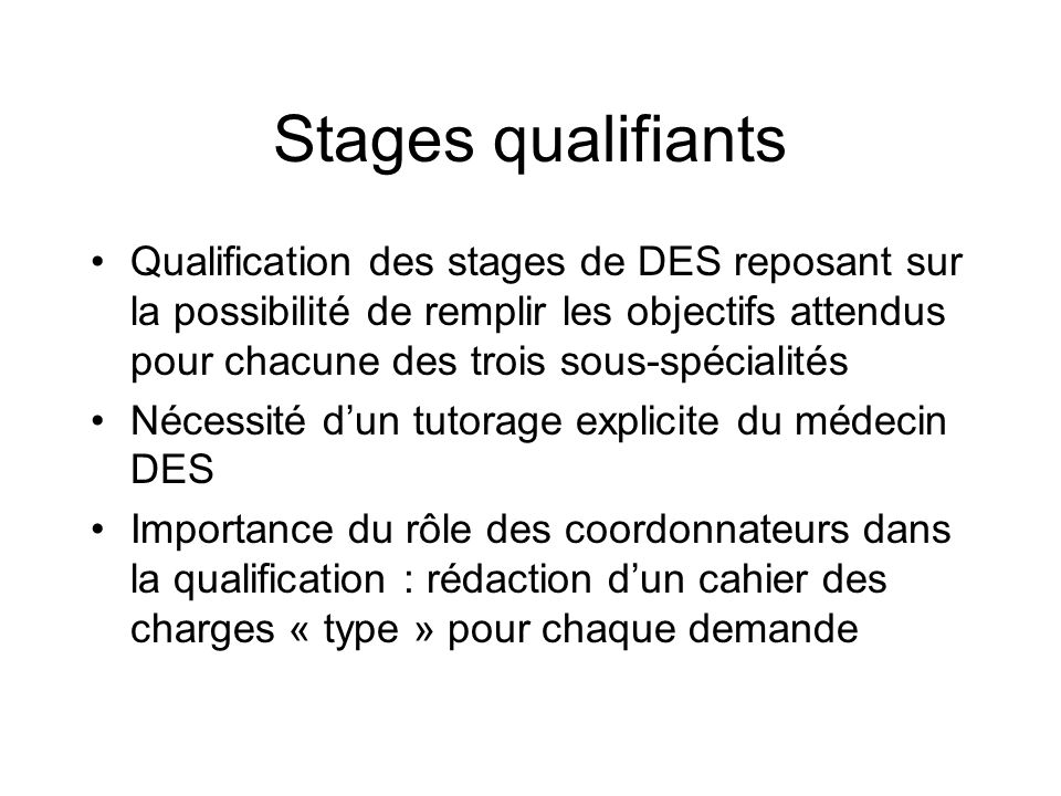 Stages qualifiants