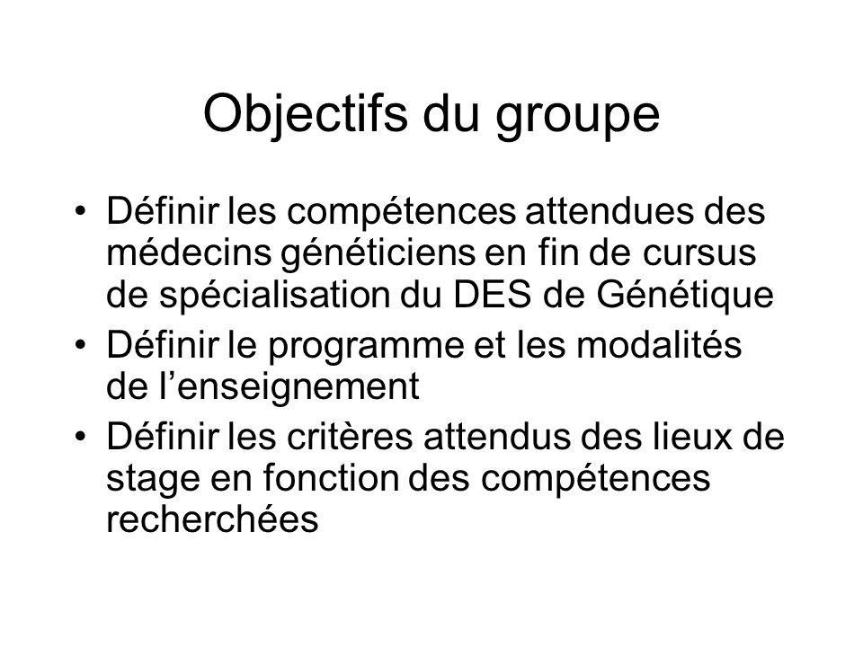 Objectifs du groupe Définir les compétences attendues des médecins généticiens en fin de cursus de spécialisation du DES de Génétique.