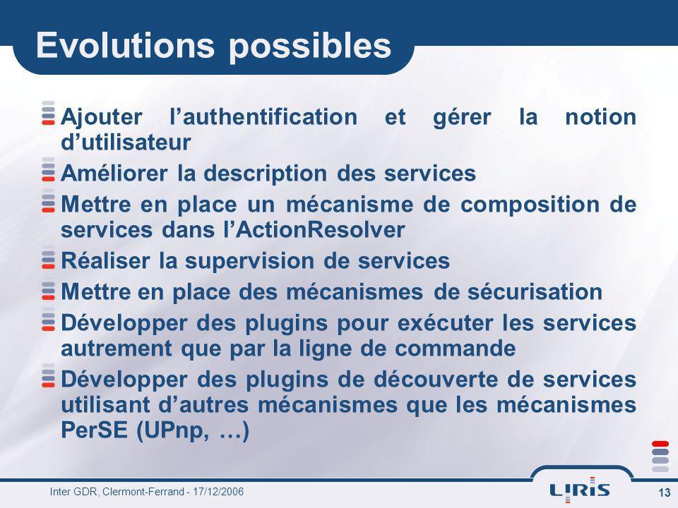 Evolutions possibles Ajouter l'authentification et gérer la notion d'utilisateur. Améliorer la description des services.