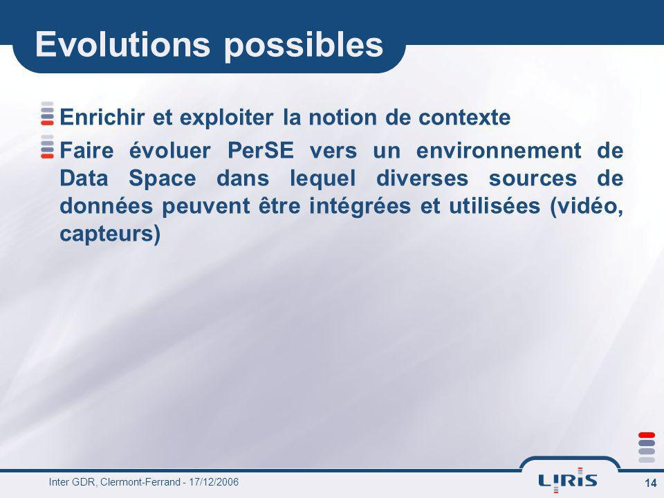 Evolutions possibles Enrichir et exploiter la notion de contexte