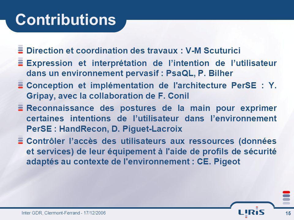 Contributions Direction et coordination des travaux : V-M Scuturici