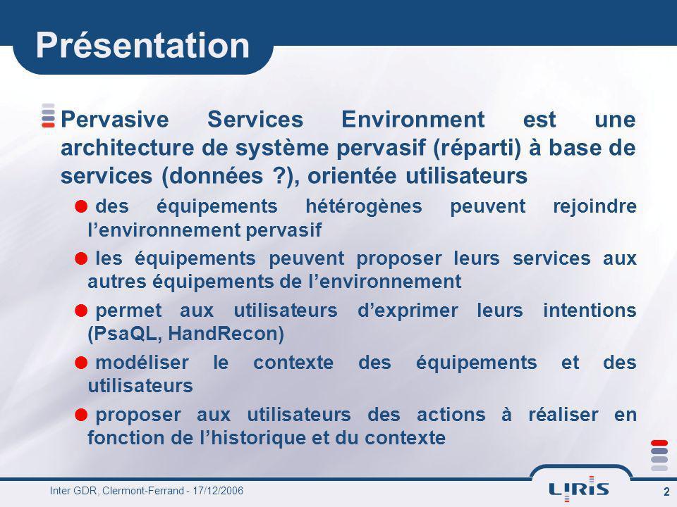 Présentation Pervasive Services Environment est une architecture de système pervasif (réparti) à base de services (données ), orientée utilisateurs.