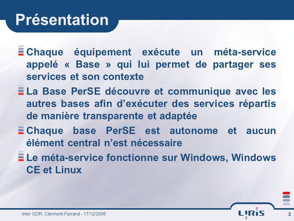 Présentation Chaque équipement exécute un méta-service appelé « Base » qui lui permet de partager ses services et son contexte.