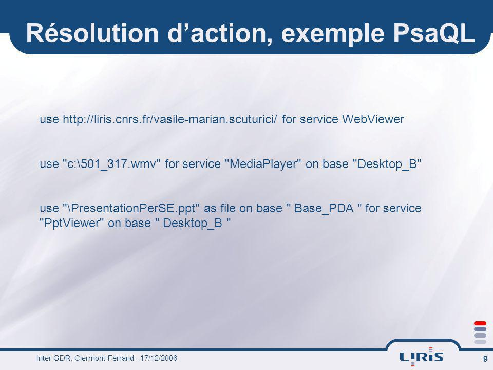 Résolution d'action, exemple PsaQL