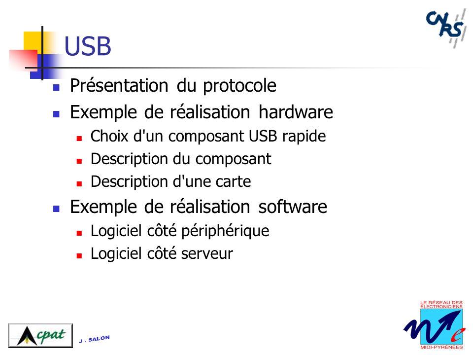 USB Présentation du protocole Exemple de réalisation hardware