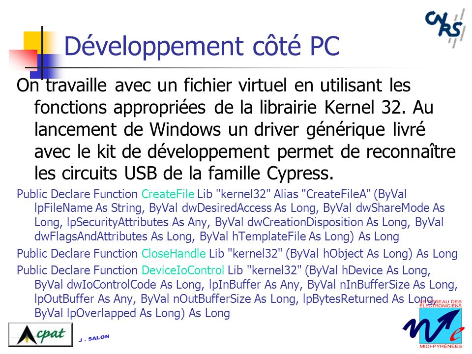 Développement côté PC