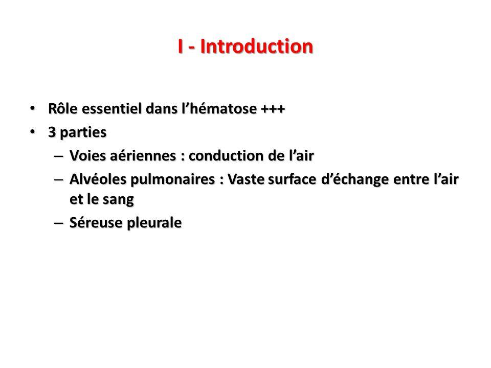 I - Introduction Rôle essentiel dans l'hématose +++ 3 parties