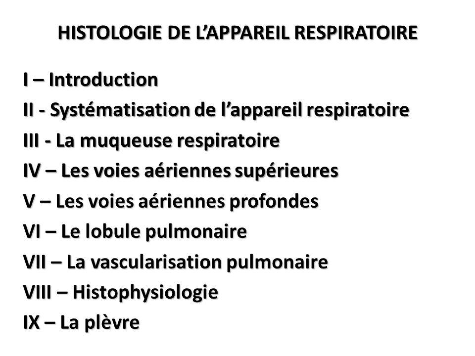 HISTOLOGIE DE L'APPAREIL RESPIRATOIRE