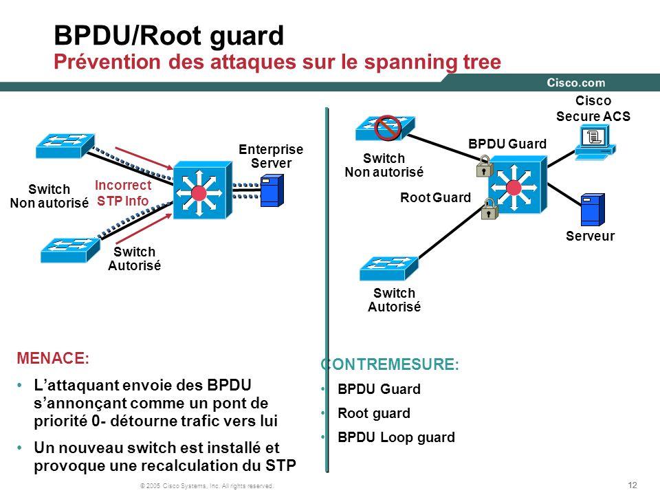 BPDU/Root guard Prévention des attaques sur le spanning tree