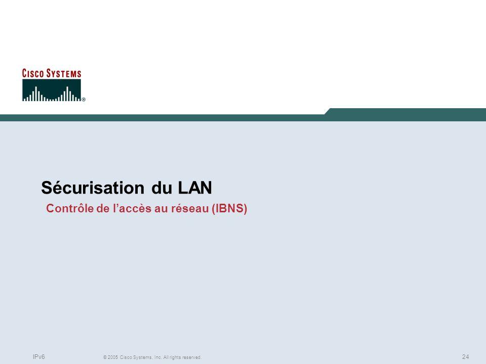 Sécurisation du LAN Contrôle de l'accès au réseau (IBNS)