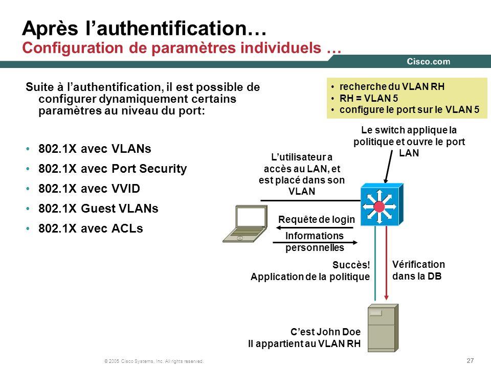 Après l'authentification… Configuration de paramètres individuels …
