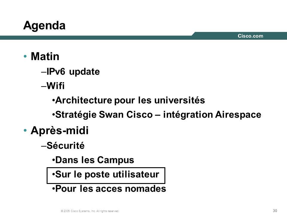 Agenda Matin Après-midi IPv6 update Wifi