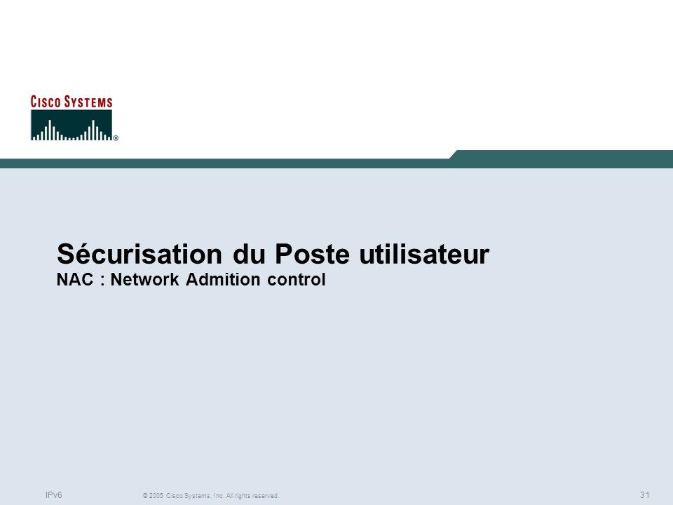 Sécurisation du Poste utilisateur NAC : Network Admition control