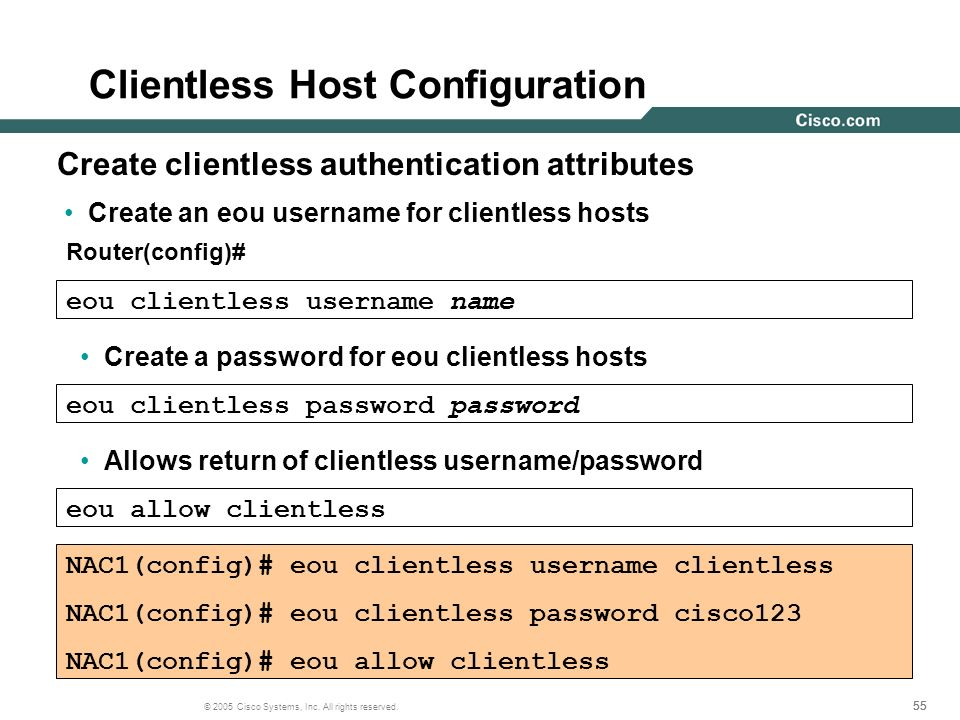 Clientless Host Configuration