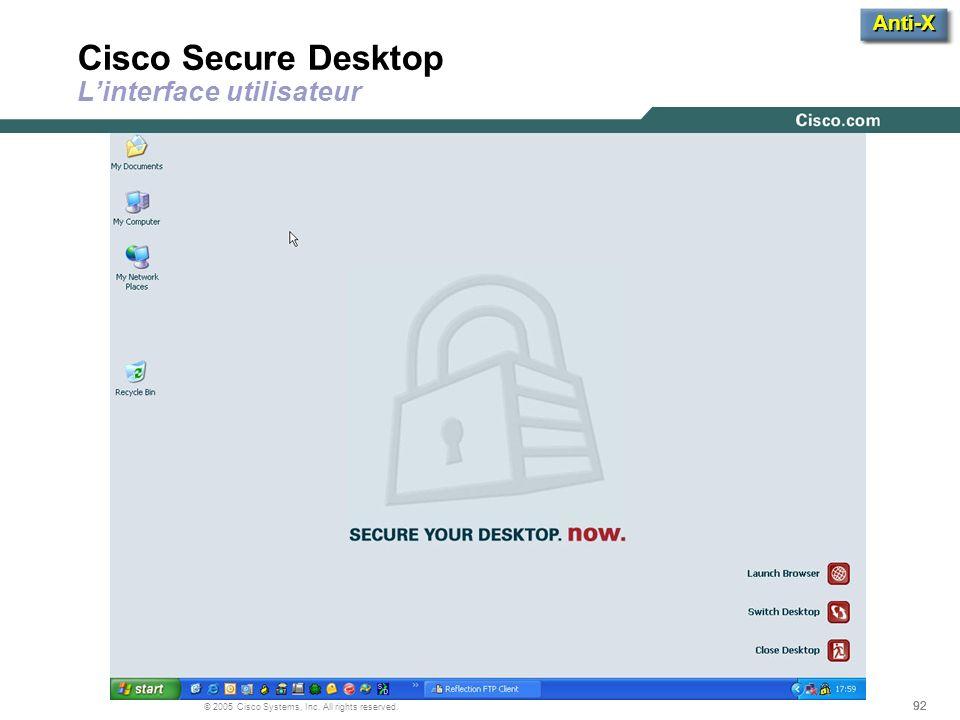 Cisco Secure Desktop L'interface utilisateur