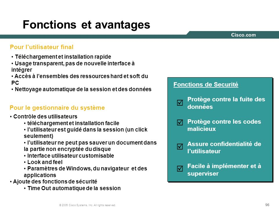 Fonctions et avantages
