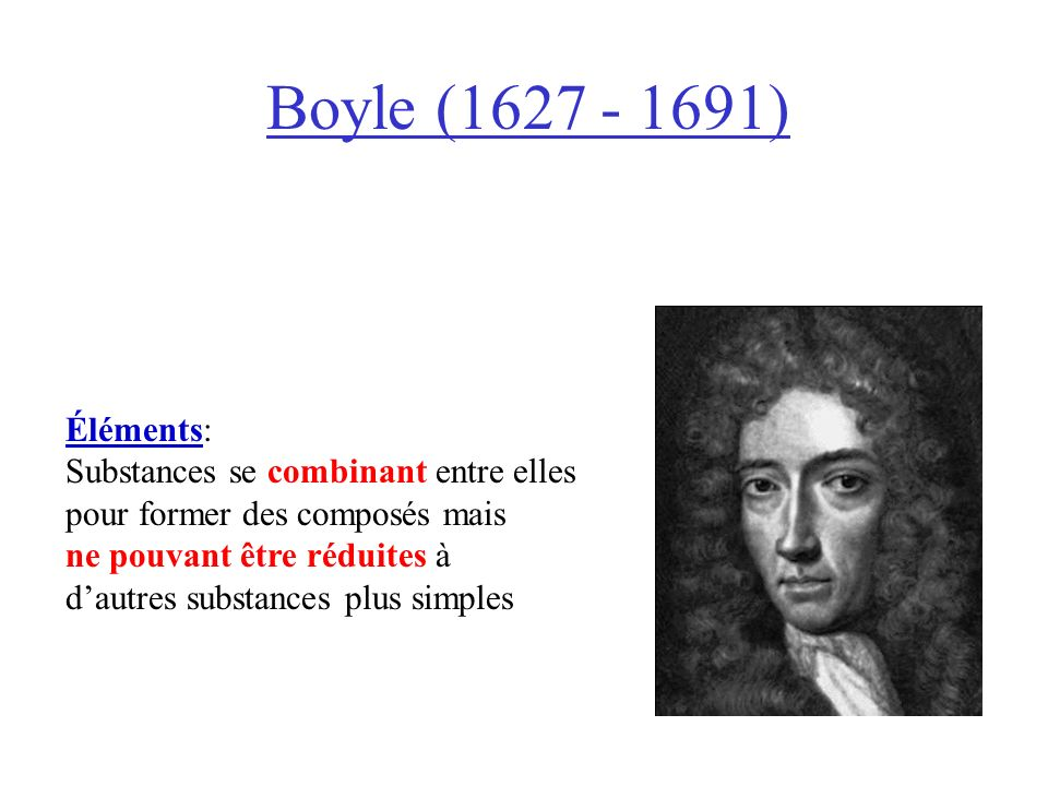Boyle (1627 - 1691) Éléments: Substances se combinant entre elles