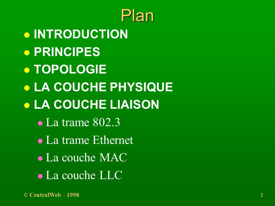 Plan INTRODUCTION PRINCIPES TOPOLOGIE LA COUCHE PHYSIQUE