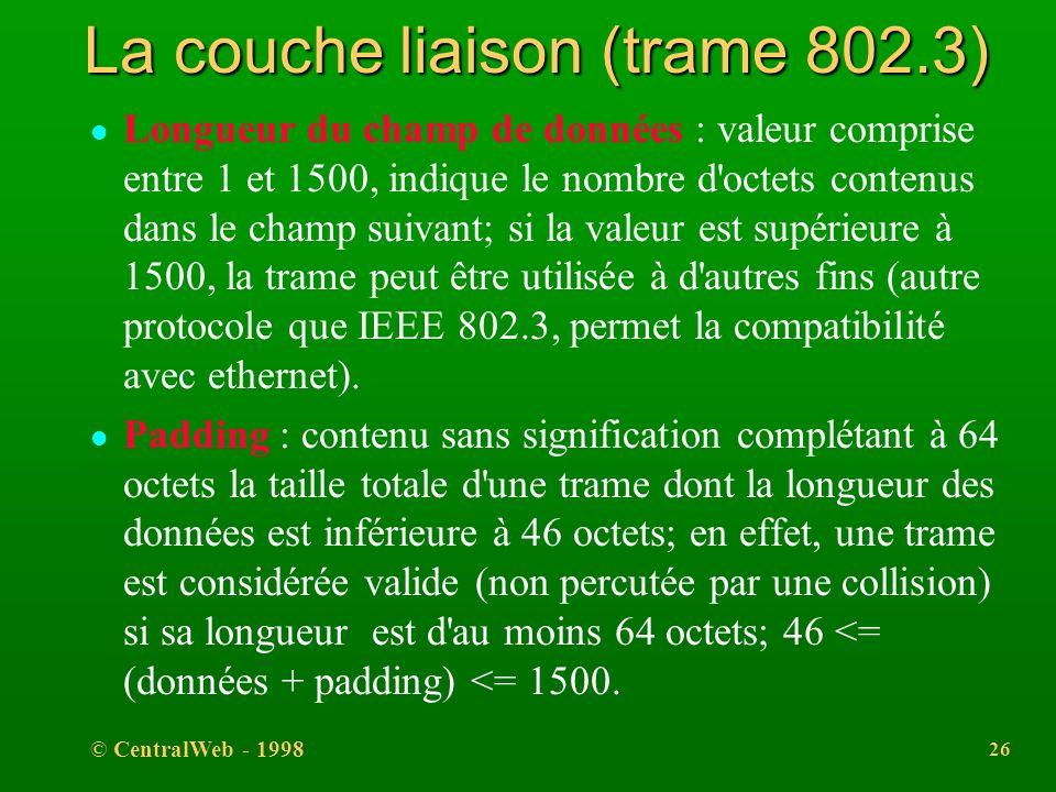 La couche liaison (trame 802.3)