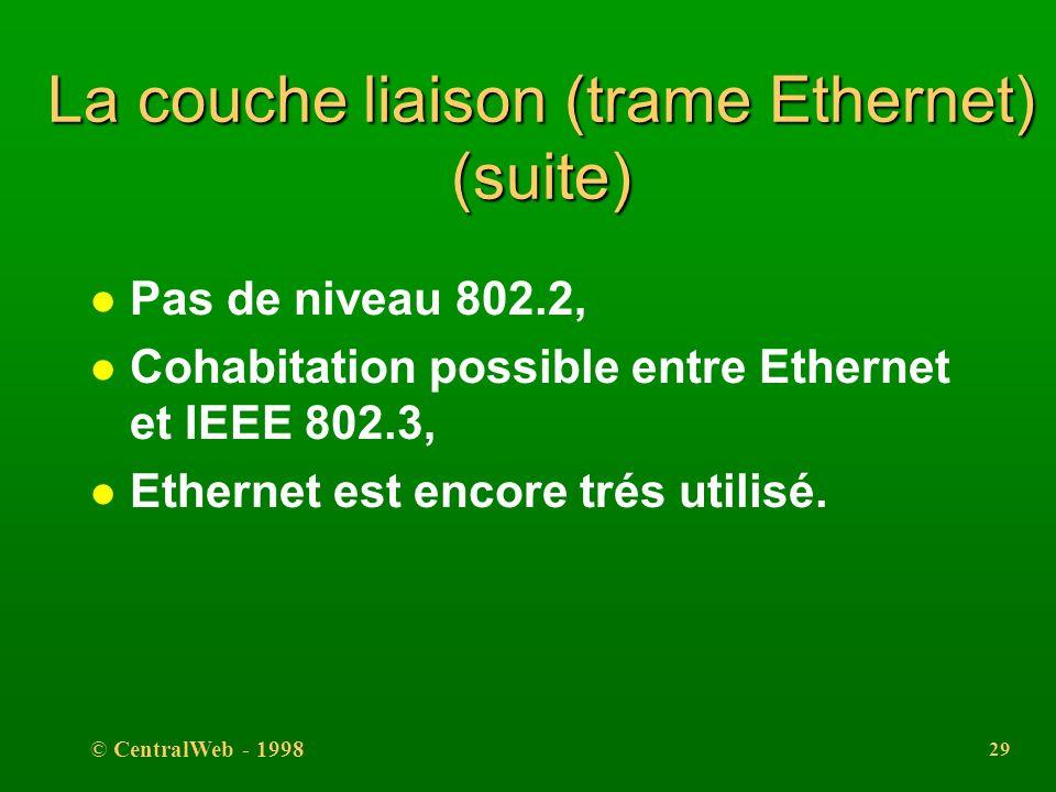 La couche liaison (trame Ethernet) (suite)