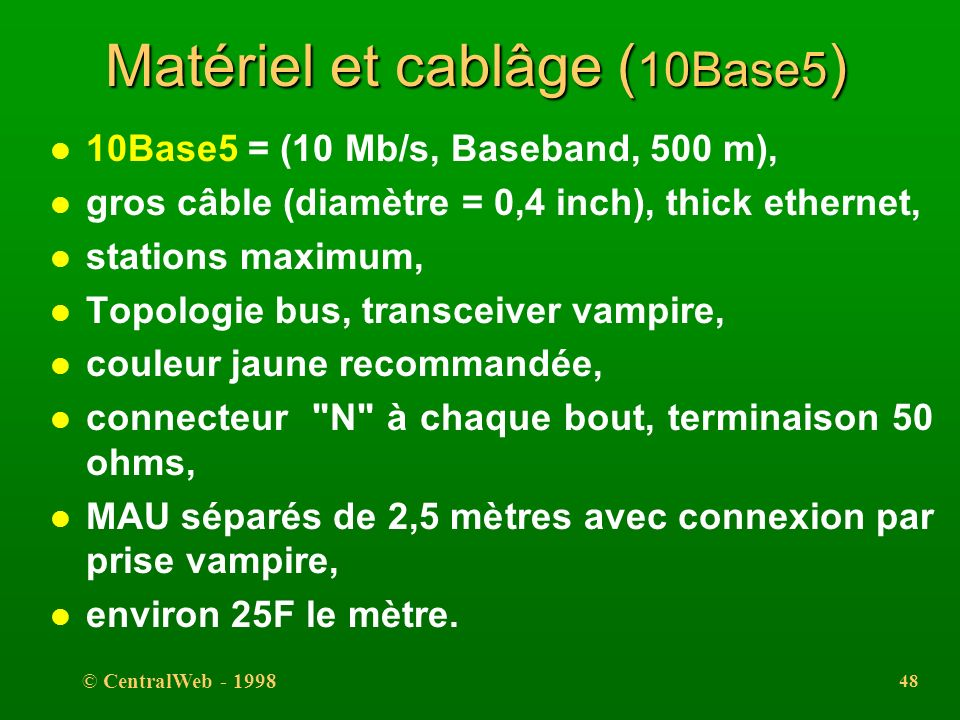 Matériel et cablâge (10Base5)