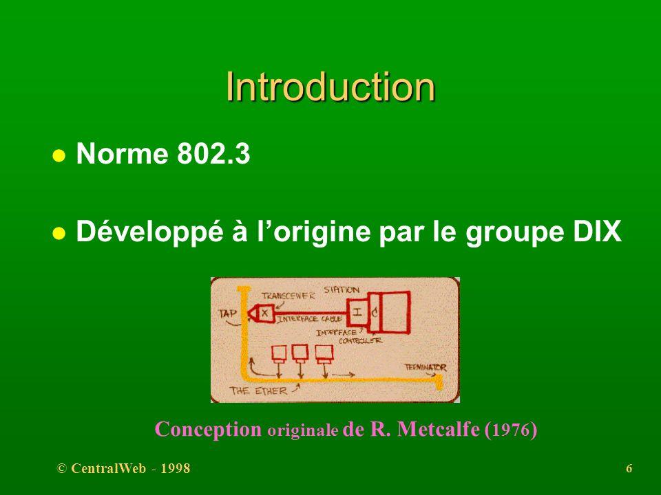 Introduction Norme 802.3 Développé à l'origine par le groupe DIX